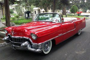 Cadillac 1955 convertible rojo en renta en la Ciudad de México